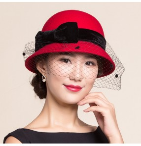 a120e3c60bb Red black with bowknot short brim 100% wool top hat for women vintage party  church