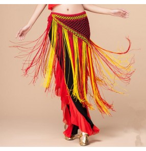 Red black yellow green patchwork triangle hip scarf fringes tassels women's ladies belly dance skirts costumes