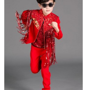 Red fashion boys kids children baby school competition contest jazz singers dancers drummer performance sequins fringes outfits costumes