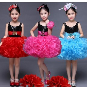 Red fuchsia hot pink yellow violet purple turquoise sequins flower girls princess modern dance children show stage performance puff dresses