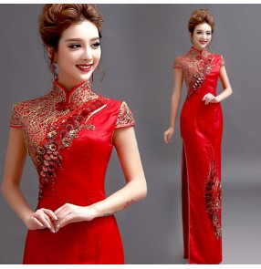 Red gold embroidery pattern chinese style women's side split sexy performance evening cheongsam wedding party bridals dresses vestidos