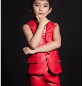 Red leather rivet fashion personality boys student children jazz singers dancers hip hop drummer cosplay show performance dance vests waistcoats