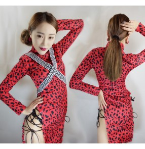 Red leopard printed long sleeves side split sexy fashion women's ladies singer jazz night club dancing dancers stage performance cheongsam dresses