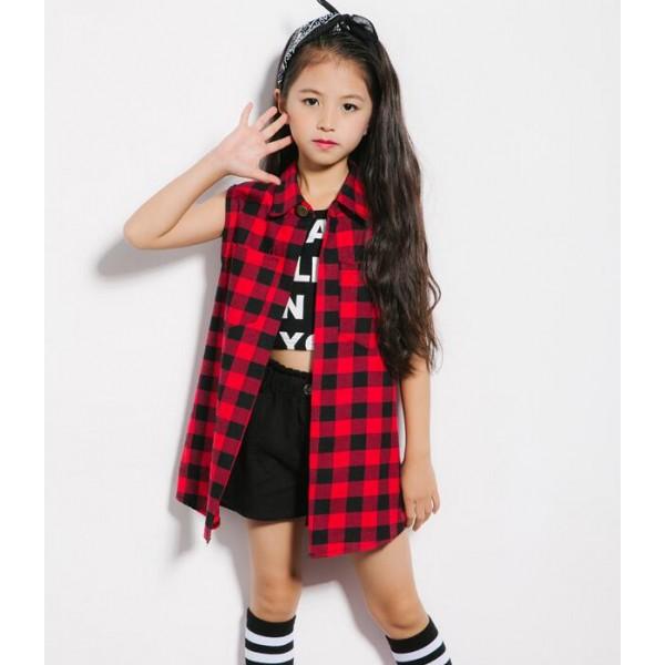 6683b82ea54e Red plaid sleeveless girls boys kids children performance hip hop ...