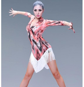 Red printed black fringes tassels v neck middle long sleeves competition women's ladies female professional latin salsa cha cha dance dresses outfits