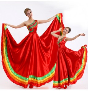 Red rainbow colored one shoulder women's ladies female  flamenco big skirted Spanish folk flamenco dance dresses outfits costumes