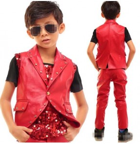 Red rivet sequins paillette patchwork 3in1 boys kids children fashion modern dance hip hop singers dancers competition stage dance outfits wear sets