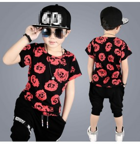 Red rose printed short sleeves fashion boys kids children toddlers modern hip hop jazz dance performance costumes outfits