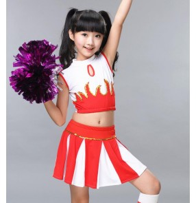 Red royal blue white patchwork fashion girls boys kids children school cheerleader sports gyms uniforms performance cheerleading dresses costumes