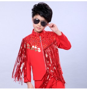 Red sequins fringes tassels boys baby kids children school competition hip hop jazz singer drummer dance jackets coats