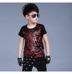 Red sequins short sleeves black fashion boys kids children jazz singer hip hop drummer competition ds dancing tops t shirts