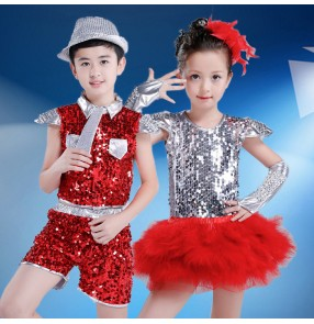 Red silver patchwork paillette sequins girls boys kids children growth school modern dance jazz singer hip hop dancing outfits costumes