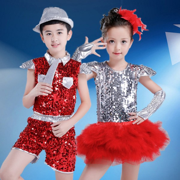 b0ca825fa988 Red silver patchwork paillette sequins girls boys kids children growth ...