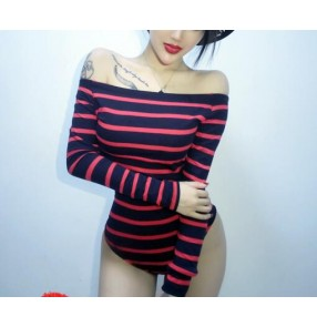 Red striped streak fashion sexy dew shoulder girls women's jazz hip hop singers dancers dancing leotards bodysuits