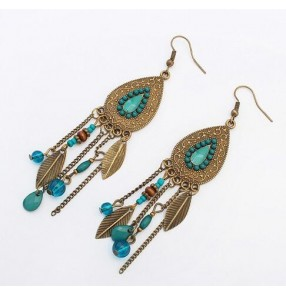 Red turquoise blue black Bohemia fashion European style leaves beaded fringes women's girls dance dress accessories earrings ear stud
