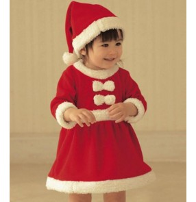 Red velvet boys kids children girls toddlers party Christmas santa claus evening party cosplay performance dancing outfits costumes