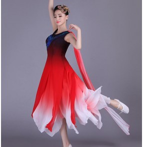Red white gradient colored one shoulder women's ladies female competition modern dance folk traditional dance dresses outfits costumes