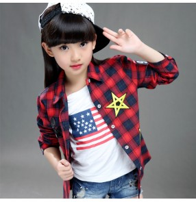 Red white green plaid girls boys England style fashion sports casual hip hop jazz performance shirts