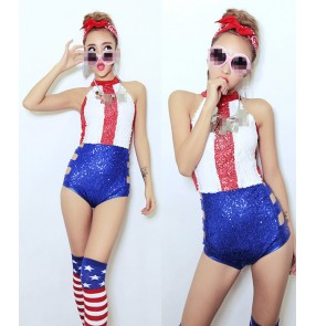 Red white striped royal blue patchwork sequins women's girls stage performance party cosplay night club singer jazz dance bodysuits outfits