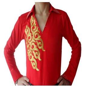 Red with gold printed v neck long sleeves rhinestones men's male competition latin ballroom dancing shirts tops