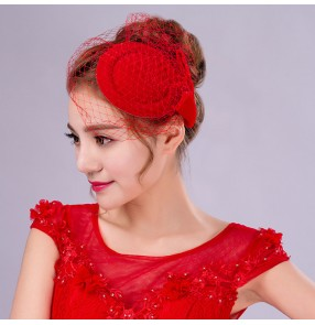 Red wool handmade England style fashion bowknot pillbox hats women's ladies wedding party bridal church fascinators top veil hats fedoras