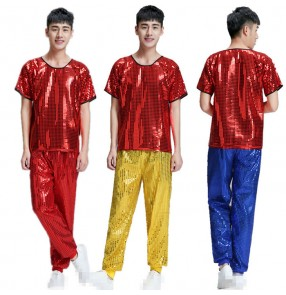 Red yellow royal blue sequins paillette short sleeves long pants men's modern dance jazz singer ds night club hip hop dance costumes outfits