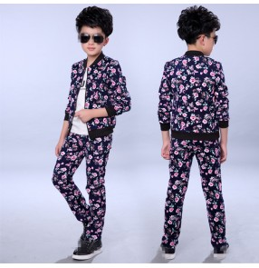 Rose flowers boys kids children fashion school drummer performance jazz hip hop singer ds dancing outfits costumes jacket pants