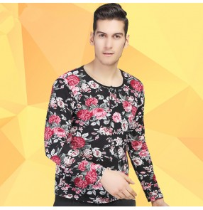 Rose red blue floral printed long sleeves competition men's male performance latin ballroom cha cha salsa dance tops t shirts