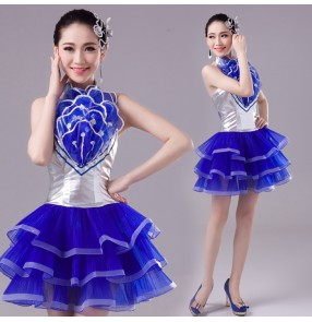 Royal blue and silver pu leather sequins women's girls modern dance singer dj ds party cosplay jazz dancing dresses costumes
