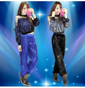 Royal blue black silver sequins glitter  long sleeves women's ladies performance modern dance hip hop jazz dj singer dance outfits costumes
