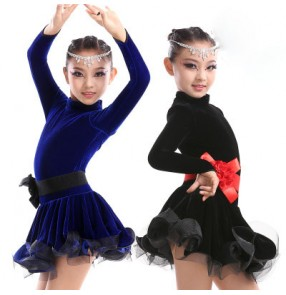 Royal blue black velvet long sleeves turtle neck competition professional performance girls kids children latin salsa cha cha dance dresses outfits