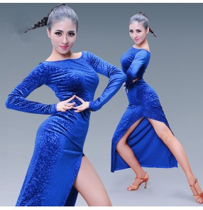 Royal blue black velvet side split women's ladies female competition salsa latin cha cha dance dresses outfits