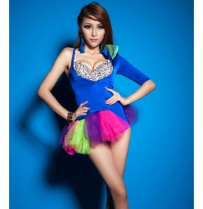 Royal blue Fashion Female singer dj ds black big feather shoulder  Perspective costume stage show performance wear