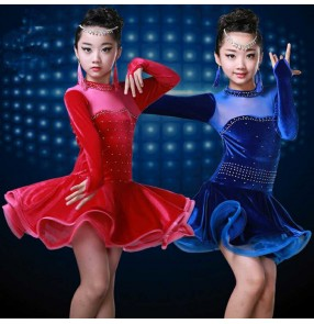 Royal blue fuchsia hot pink velvet rhinestones competition girls children kids ballroom latin salsa cha cha dance dresses