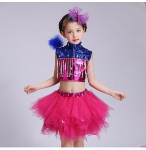 Royal blue fuchsia patchwork glitter paillette fashion girls modern dance jazz singers party dancing dresses outfits