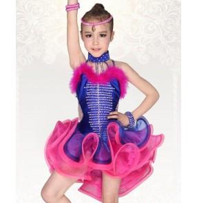 Royal blue fuchsia patchwork rhinestones Ostrich feather backless professional competition girls ballroom salsa latin dance dresses vestidos