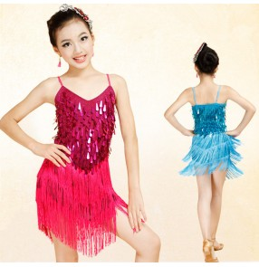 Royal blue fuchsia turquoise red silver white hot pink violet sequins paillette fringes girls kids children competition salsa latin dance dresses