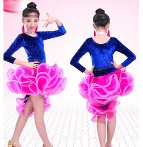 Royal blue fuchsia velvet rhinestones patchwork ruffles skirts girls kids children baby performance competition latin rumba salsa dance dresses
