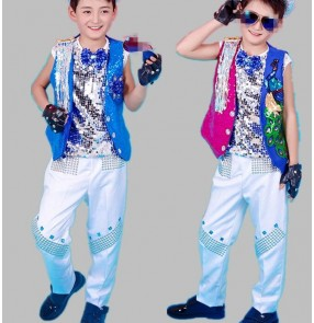 Royal blue fuchsia waistcoat silver sequins vest 3in1 boys baby children school competition drummer jazz singer dancers hip hop modern dance outfits
