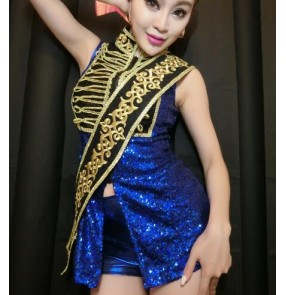 Royal blue gold palace pattern sequins paillette glitter women's stage performance singer jazz ds night club dancing outfits