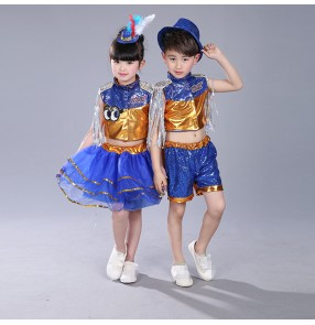 Royal blue gold pu leather patchwork fashion hip hop jazz boys girls kids dancers performance outfits costumes