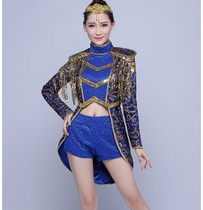 Royal blue gold sequins glitter paillette modern dance women's ladies jazz singer dancers contest hip hop dancing outfits tuxedo coats shorts