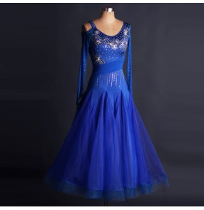Royal blue long length rhinestones competition hollow shoulder fashion women's ladies professional ballroom tango waltz dancing dresses outfits