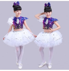 Royal blue rainbow colored sequins girls kids children competition modern jazz singer dancing dresses costumes outfits