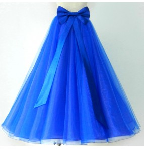 Royal blue red fuchsia hot pink black white women's fashion competition ballroom tango waltz dancing skirts