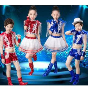 Royal blue red leather patchwork fashion boys girls modern dance street hip hop dance performance outfits costumes