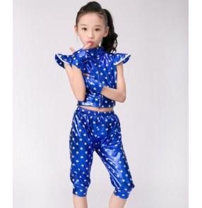 Royal blue red star printed fashion boys kids children girls glitter hip hop modern dance jazz singer performance outfits costumes