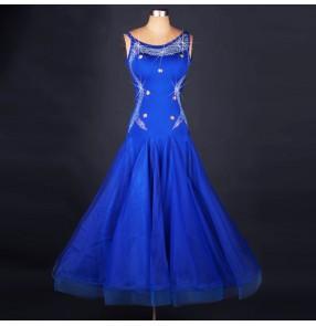 Royal blue rhinestones women's competition performance professional ballroom tango flamenco samba rumba dancing dresses costumes clothes