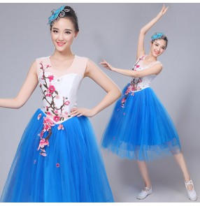 Royal blue silver sequins patchwork expansion irregular skirt women's ladies stage performance modern dance dj ds singer party dancing skirts dresses outfits