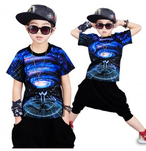 Royal blue  star sky printed short sleeves boys kids children school competition performance hip hop jazz dance harem pants outfits